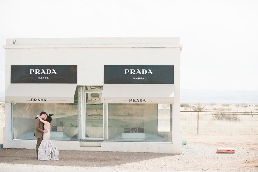 Prada Marfa wedding couple