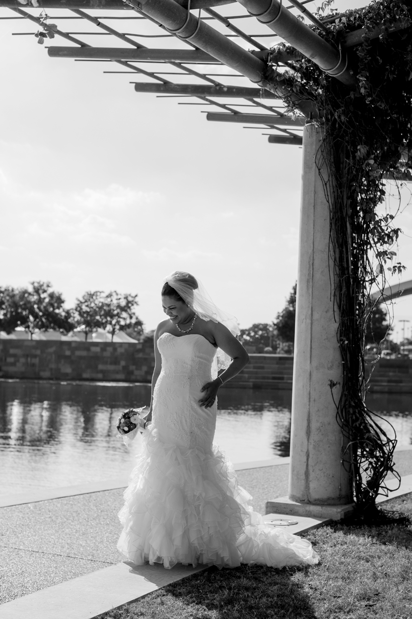 bridal couture in a public park