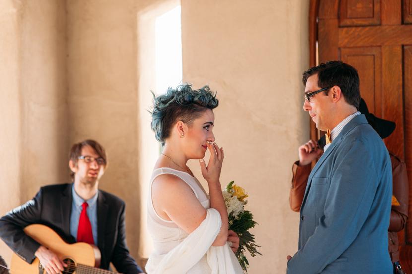 happy crying bride