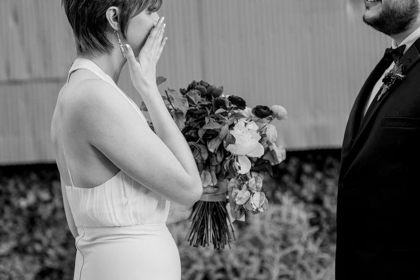 emotional happy bride