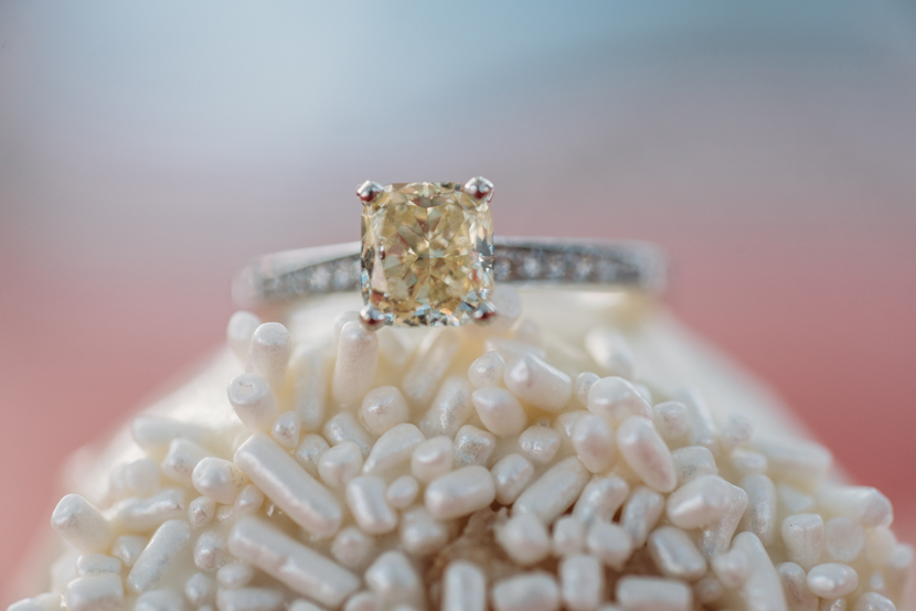 square yellow diamond engagement ring