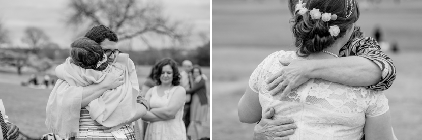 hugs at elopement