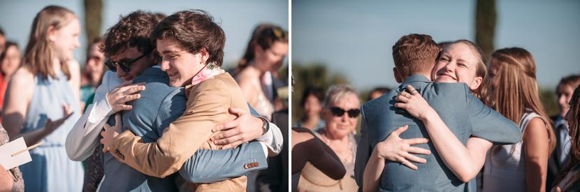happy people hugging