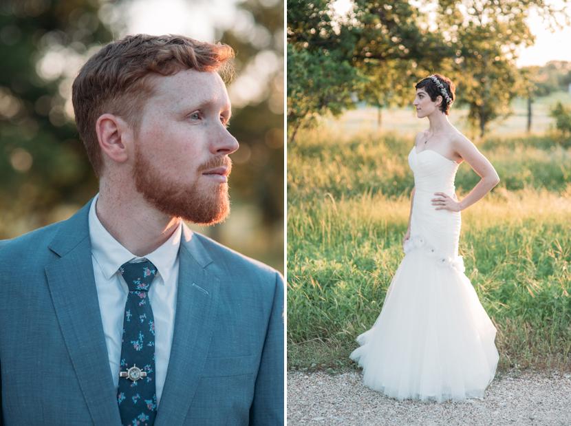 golden hour bride groom portraits