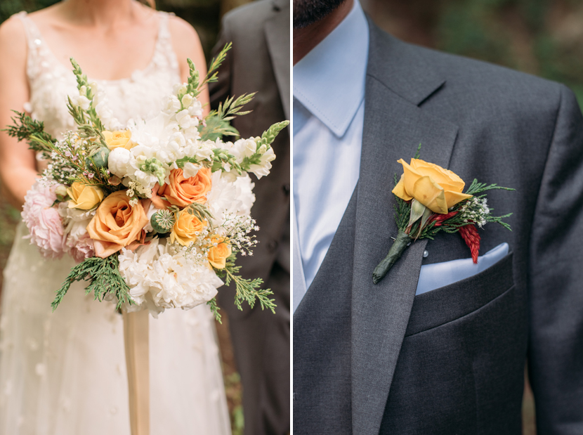 yellow roses in wedding bouquet