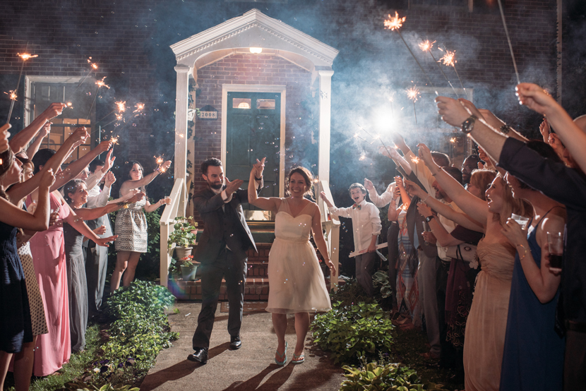 sparklers and bubbles for wedding sendoff