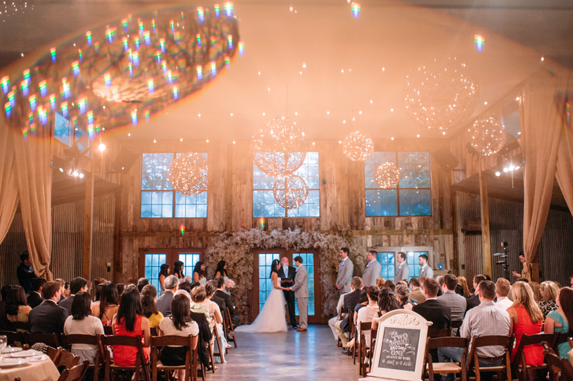 indoor ceremony at vista west ranch