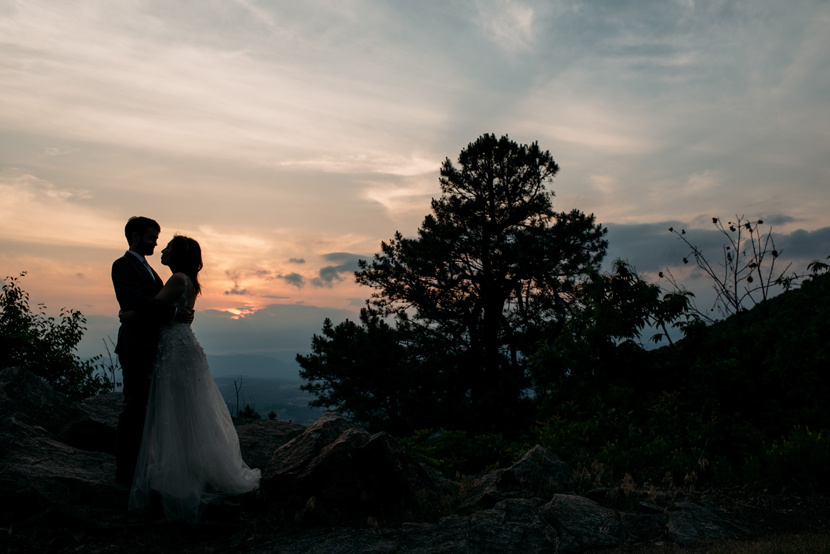 sunset and nature wedding photography