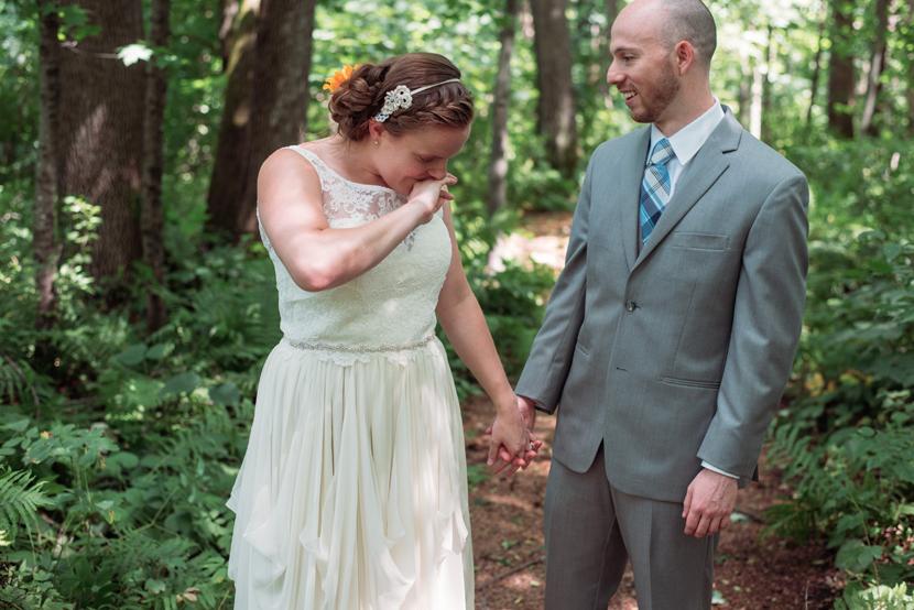 emotional happy bride groom