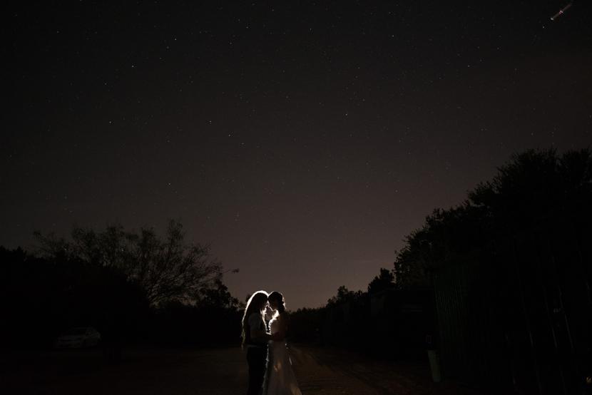 starry night wedding photo