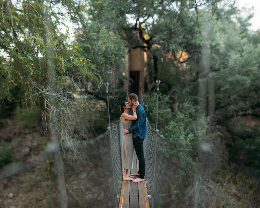 wedding photo on a narrow bridge