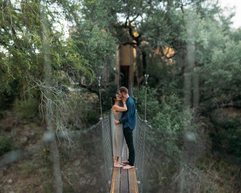 wedding photo on a narrow bridge