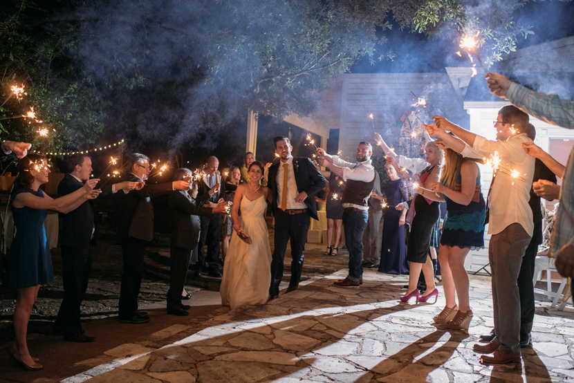 sparklers at outdoor wedding