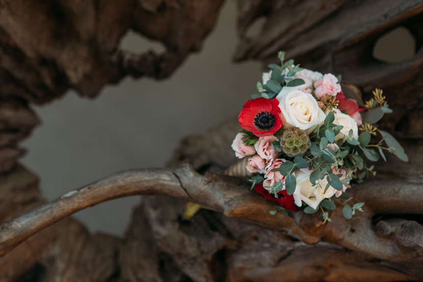 bright red wedding flowers
