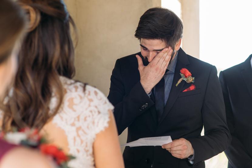 groom crying wedding photos
