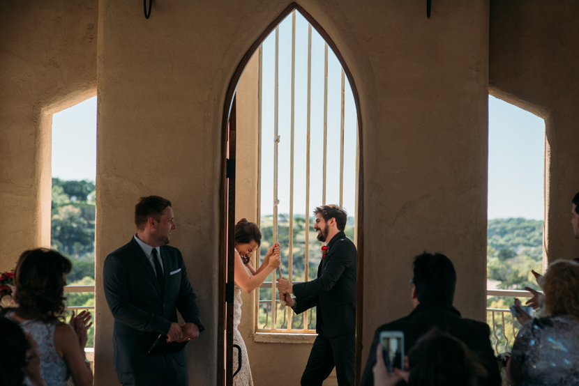 ringing the wedding bell after the ceremony