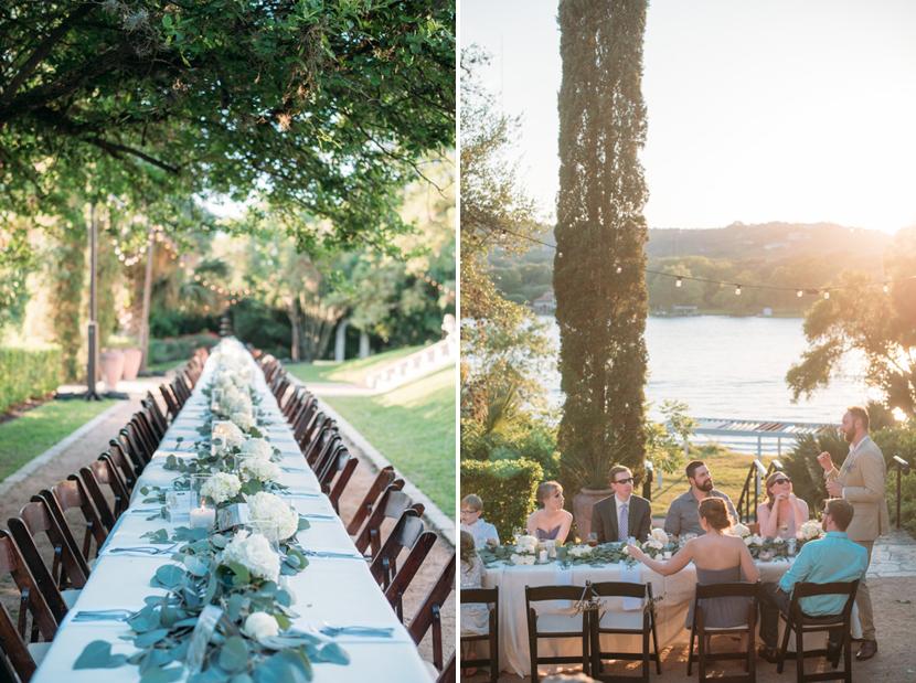 long wedding guest table arrangement