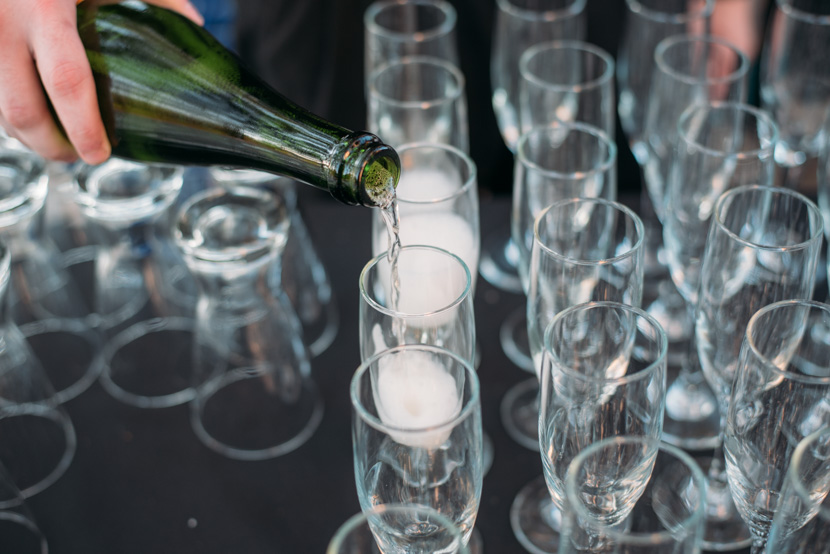 champagne toasts at wedding