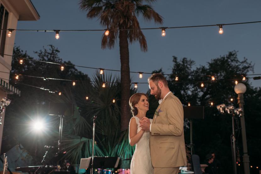 bride and groom dance at laguna gloria