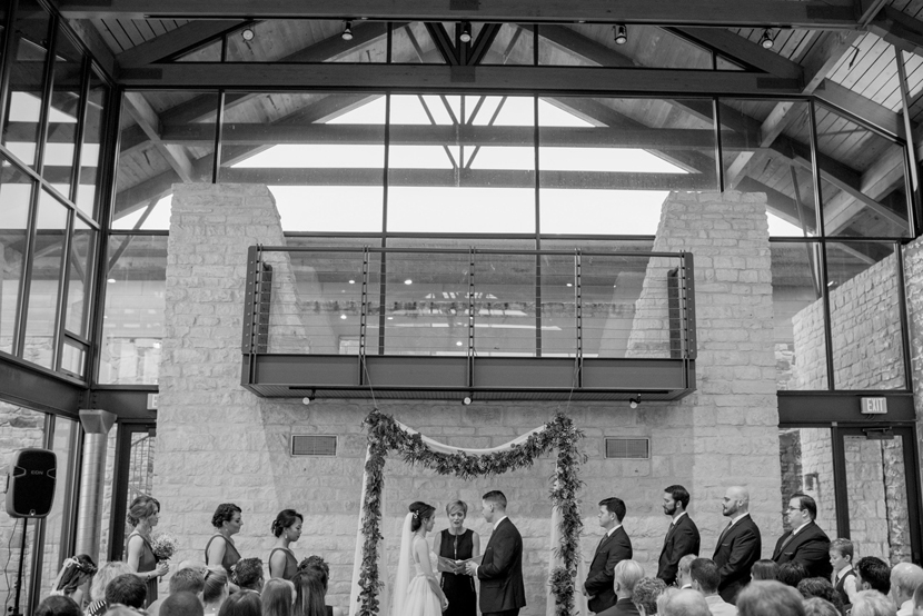 indoor ceremony at wildflower center