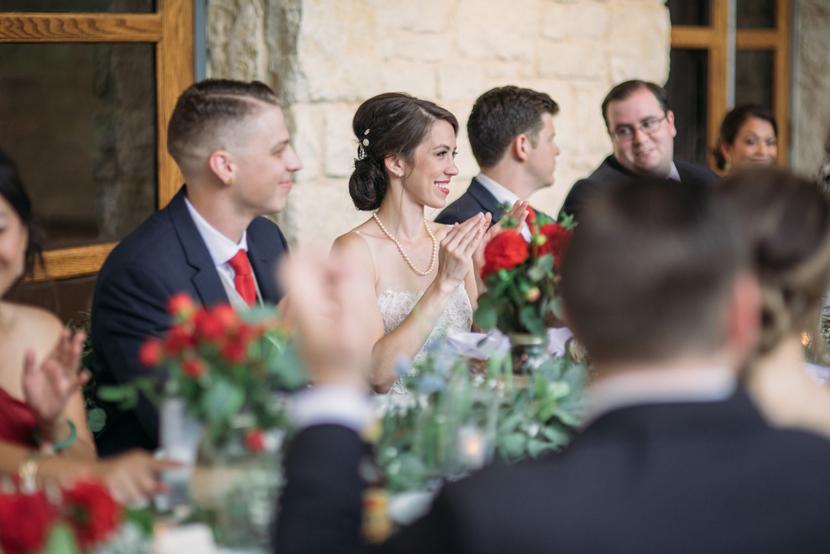 joyful couple during wedding toast