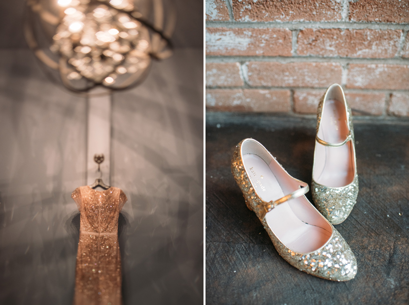 sequined wedding dress and shoes