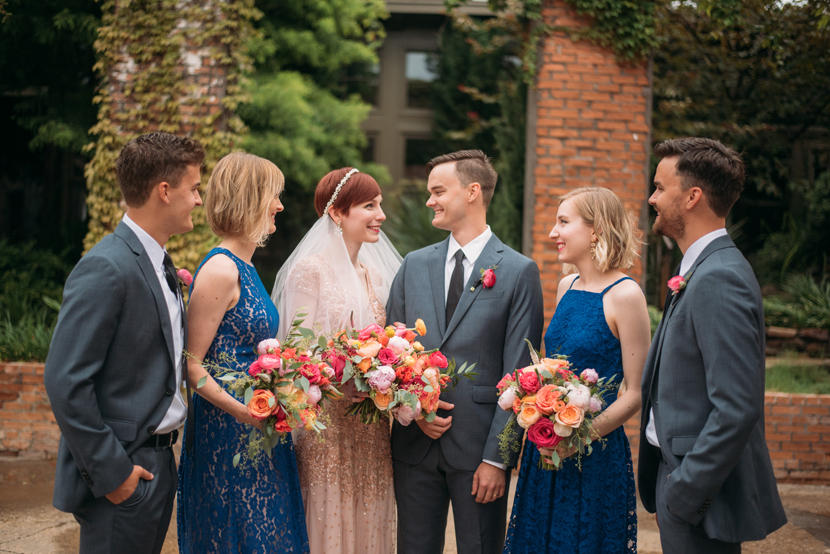colorful bouquets and wedding party