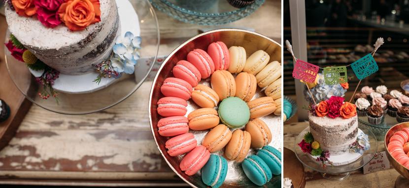 wedding macarons and cake