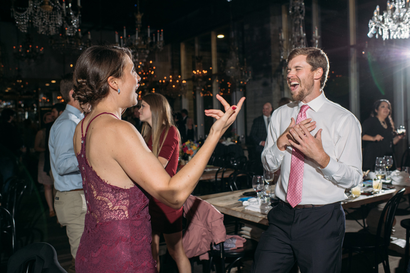 guests party at a houston wedding in midtown houston