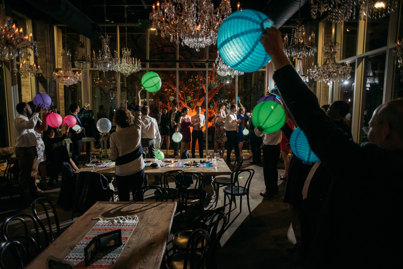 wedding exit with colorful lanterns