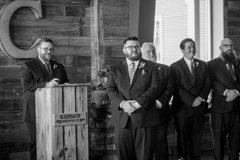 groom waits for bride at the karbach brewery