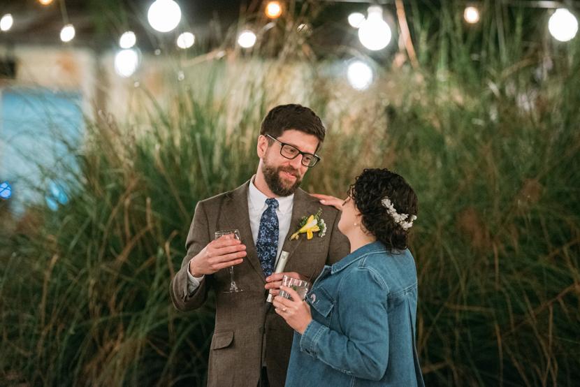 globe lights at outdoor wedding
