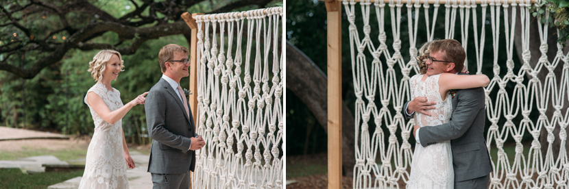 casual wedding with a macrame backdrop