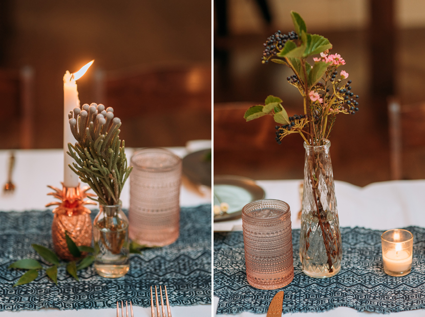 birch and brass rentals table decor with brass pineapple candleholders