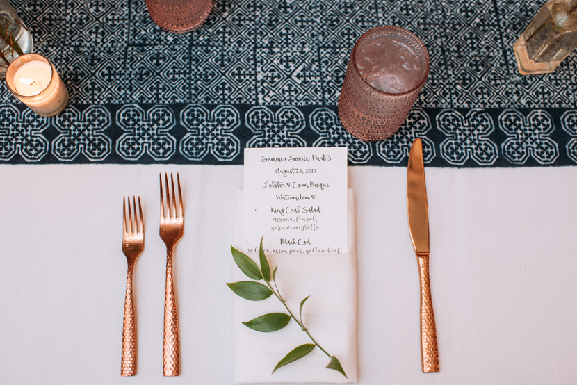 rose gold silverware from birch and brass rentals