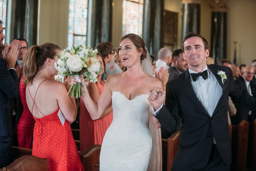 joyful couple recessional