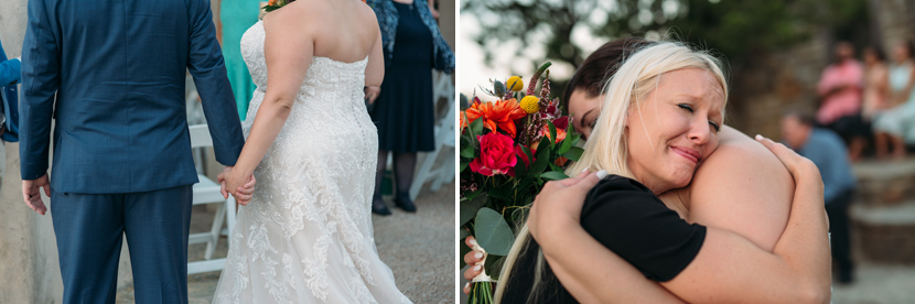 couple embraces after wedding ceremony