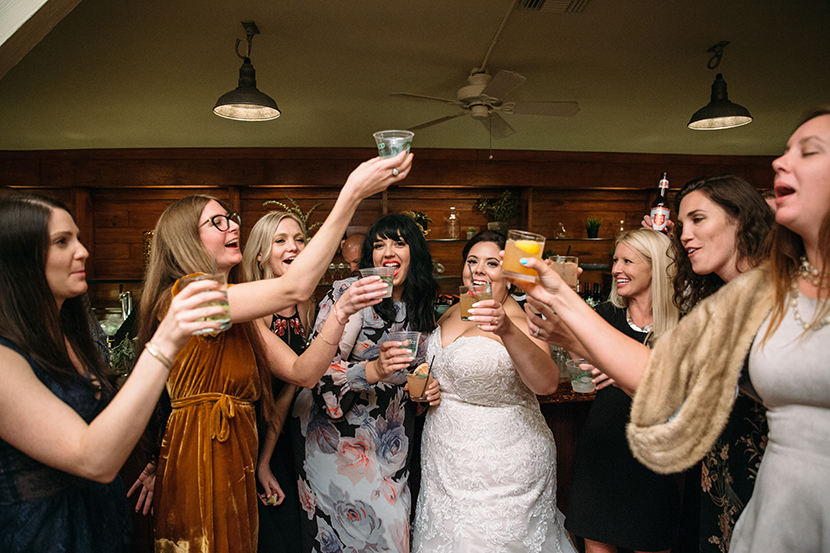bride with all her friends but not bridesmaids