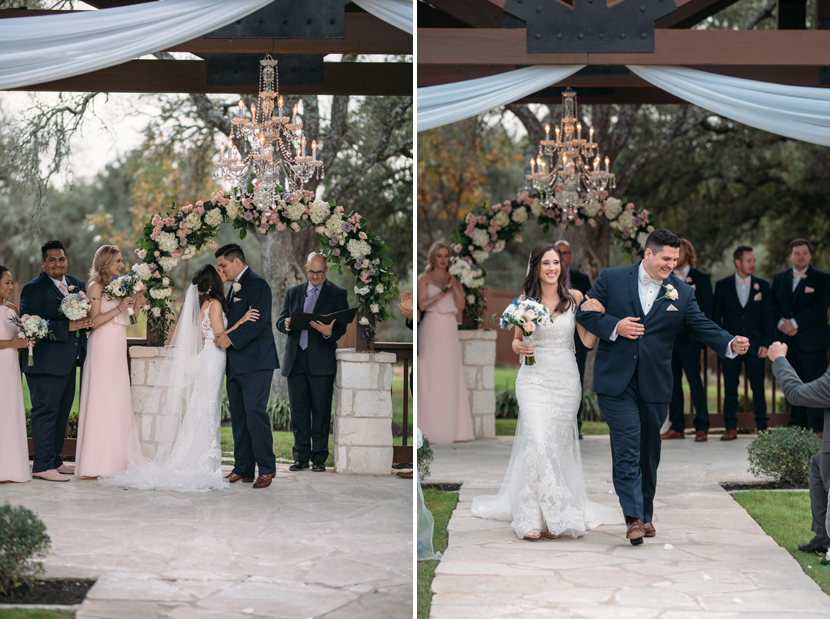 groom fistbumps during recessional