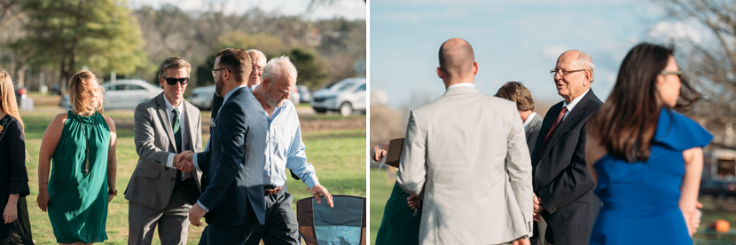 guests for small wedding greet one another