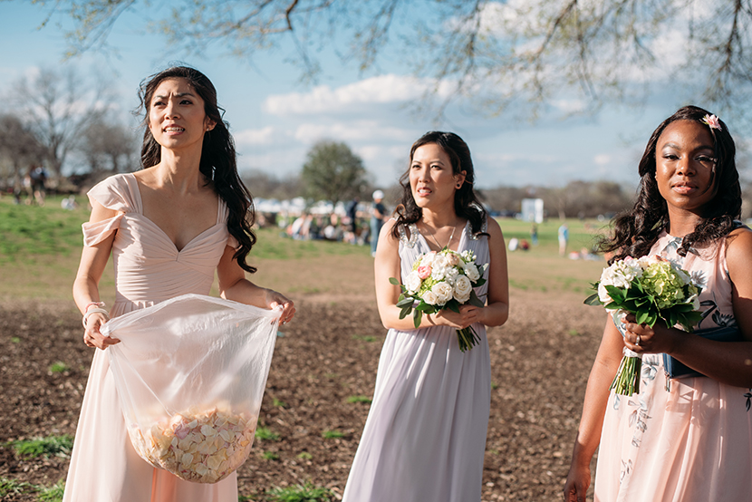 zilker park wedding bridemaids