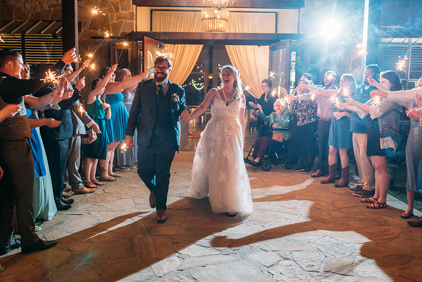dripping springs wedding sparkler exit