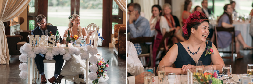 couple laughs during wedding toasts
