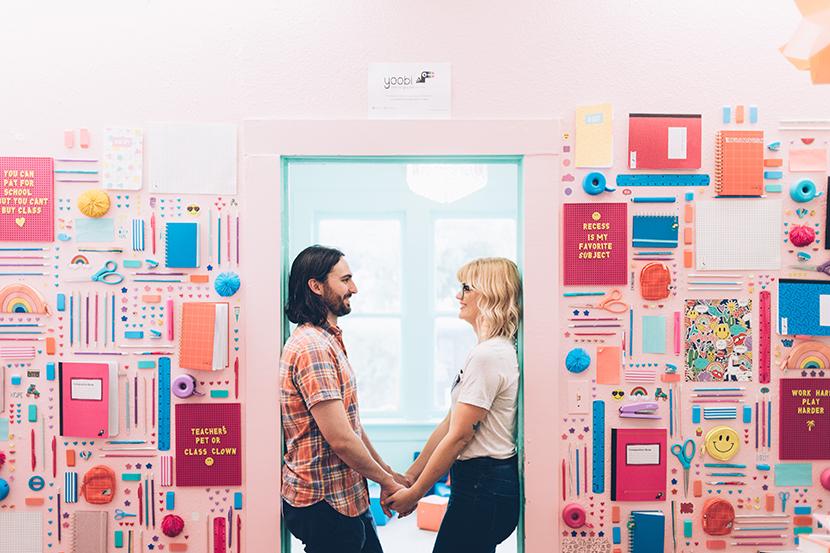 colorful austin engagement shoot