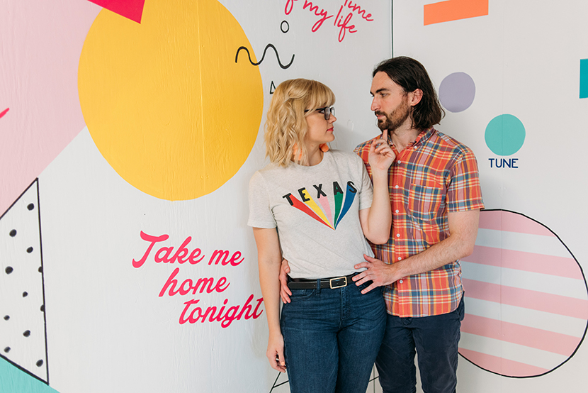 engagement photo with a state pride shirt