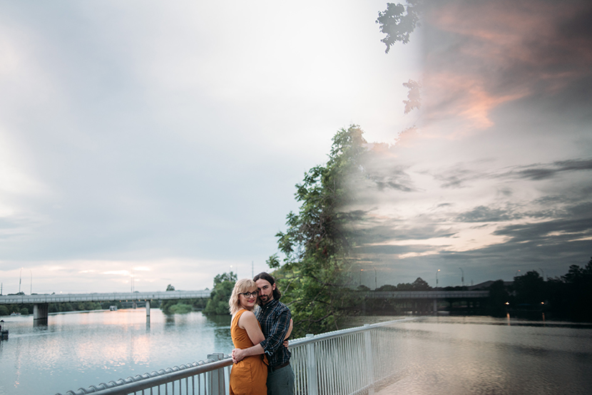 cool engagement photo with a sunset