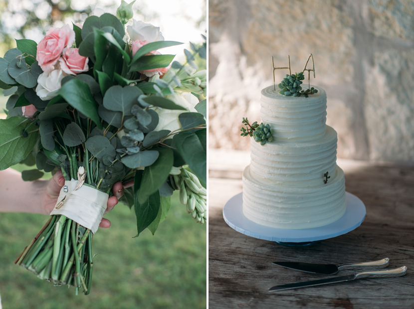 Simple and classic wedding cake and bouquet