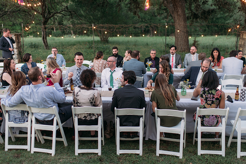 Outdoor dinner with long tables