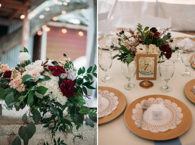 Gold plates and dark wedding bouquets