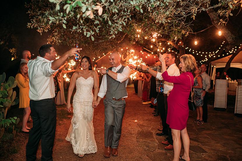 Driftwood wedding sparkler exit